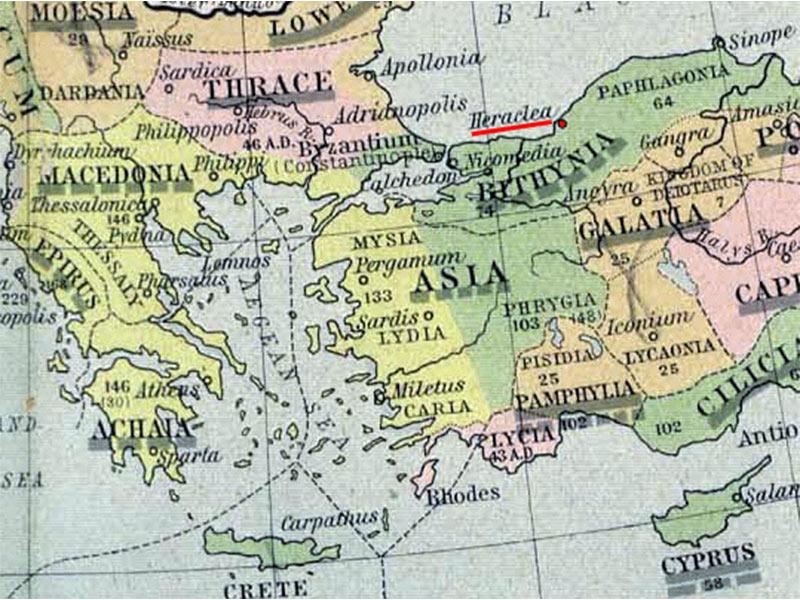 Χάρτης με αναφορά στην Ηράκλεια