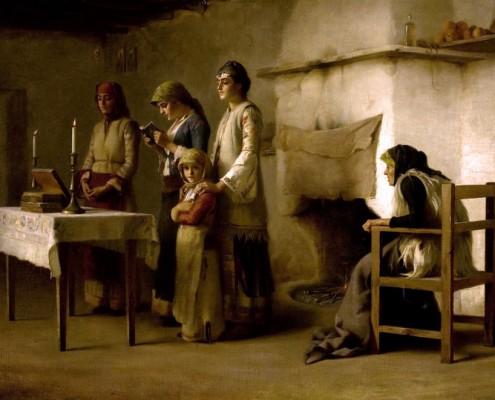Ράλλης Θ. - Προσευχή πριν την Θεία Μετάληψη, Μέγαρα (1890)